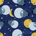 Fishes, stars and moon, colorful cute seamless pattern