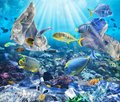 Fishes swims with floating bags. Problem of plastic pollution under the sea concept.