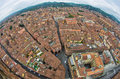 Fisheye cityscape view from two towers, Bologna, Italy Royalty Free Stock Photo