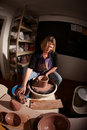 Fisheye shot of potter shaping clay Royalty Free Stock Images
