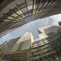 Fisheye upward view of New York City Skyscrapers Royalty Free Stock Photo