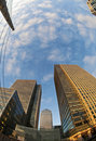 Fisheye View of Canary Wharf Royalty Free Stock Photography