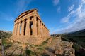Fisheye view of Concordia temple in Agrigento, Sic Stock Photography