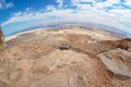 Fisheye view of desert landscape near Dead Sea Stock Images