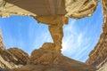 Fisheye view of jabal umm fruth bridge in wadi rum is one several natural arches jordan Stock Photo