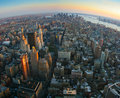 Fisheye view over lower Manhattan, New York Stock Photos