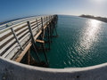 Fisheye view of san simeon pier extreme wide angle Royalty Free Stock Photography