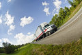 Fisheye view of semi truck on road a Stock Image