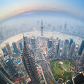 Fisheye view of shanghai at dusk with aerial Stock Images