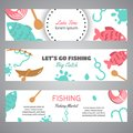 Fishing banner. Lake time text. Banners with quotes about fishing. Flat fish icons, with net or rod. Salmon steak and Royalty Free Stock Photo