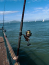 Fishing at the bay rods san francisco with sailboats heeling blue sky with small white clouds green water Stock Photo