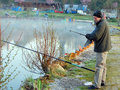 Fishing in belgium editorial is a very popular pastime inland there are many rivers waterways and lakes and there is also good on Stock Photography