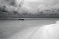 Fishing boat in aitutaki lagoon cook islands small bw Royalty Free Stock Photo