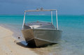 Fishing boat in aitutaki lagoon cook islands small metal Royalty Free Stock Photography