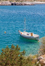 Fishing boat anchored at a Greek island Royalty Free Stock Images
