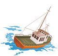 Fishing boat battling huge swe Royalty Free Stock Photos