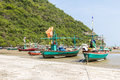 Fishing boat on the beach hua hin beach thailand Royalty Free Stock Image