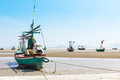 Fishing boat on the beach hua hin beach thailand Stock Images