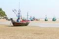 Fishing boat on the beach hua hin beach thailand Stock Photo