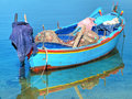 Fishing boat in clear sea. Stock Photography
