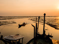 Fishing boat coming back home sunset Royalty Free Stock Photography