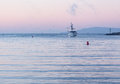 Fishing boat entering Ventura harbor dawn Stock Image
