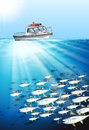 Fishing boat and fish under the sea Royalty Free Stock Photo