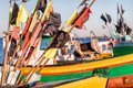 Fishing boat with flags. Close view