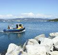 Fishing boat in the harbour of le grazie italy Stock Photography