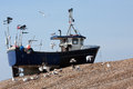 Fishing boat high up shingle bank gulls flying around a pull on the beach Stock Images