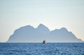 Fishing boat on a horizon lofoten norway Royalty Free Stock Photography