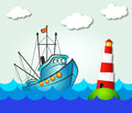 Fishing boat and lighthouse in the sea Royalty Free Stock Image