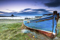Fishing boat lindisfarne a worn out on holy island Royalty Free Stock Images
