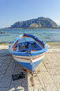 Fishing boat in mondello beach in palermo Stock Image