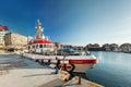 Fishing boat near pier Royalty Free Stock Photo