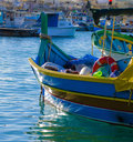 Fishing boat one of the boats in the marsaxlokk village on new years day Royalty Free Stock Photography