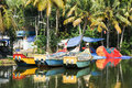 Fishing boat on the river near kollam kerala backwaters india Stock Photo