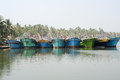 Fishing boat on the river near kollam on kerala backwaters india january india Royalty Free Stock Photography