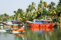 Fishing boat on the river near kollam on kerala backwaters india january india Stock Image