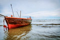 Fishing boat on sea background Royalty Free Stock Photos