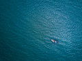 Fishing boat in The Sea. Bird eye view from drone Royalty Free Stock Photo