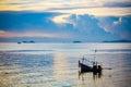 Fishing boat in sea on koh samui at amazing sunset thailand Royalty Free Stock Image