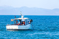 Fishing boat in the sea at work punta ala tuscany italy Royalty Free Stock Photography