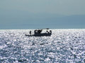 Fishing boat silhouette Royalty Free Stock Photo