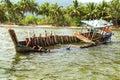 Fishing boat sinking island palm vietnam Stock Photography
