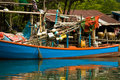 Fishing boat in a small village Royalty Free Stock Photo