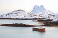 Fishing boat of steine in lofoten boats a bay near islands Stock Photo