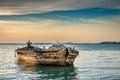 Fishing boat in sunset Royalty Free Stock Photo