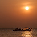 Fishing boat sunset at the bay of bengal with Stock Photo