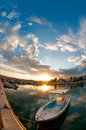 Fishing boat at sunset cyprus Royalty Free Stock Image